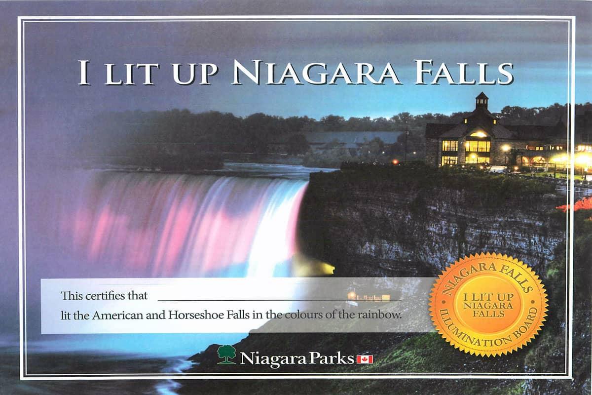 niagara falls illumination tower certificate
